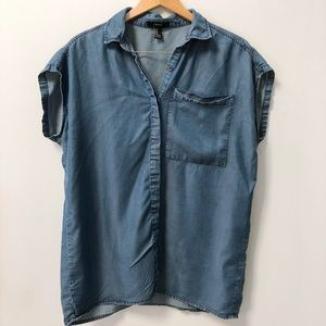 Forever 21 Oversized Chambray Short Sleeve Top